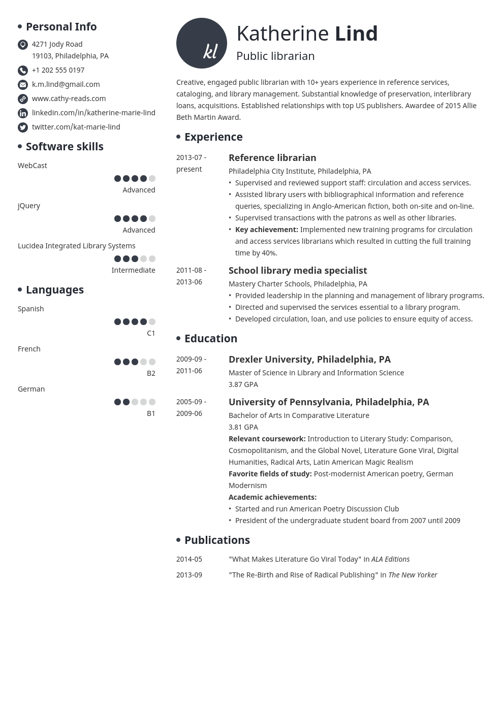 librarian resume example template initials