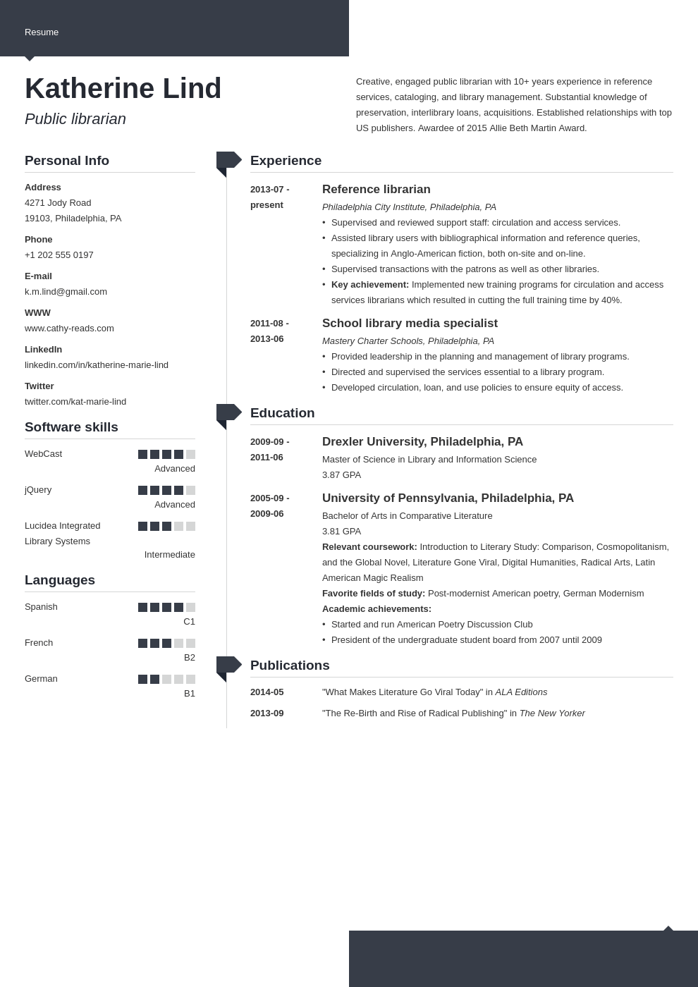 librarian resume example template modern