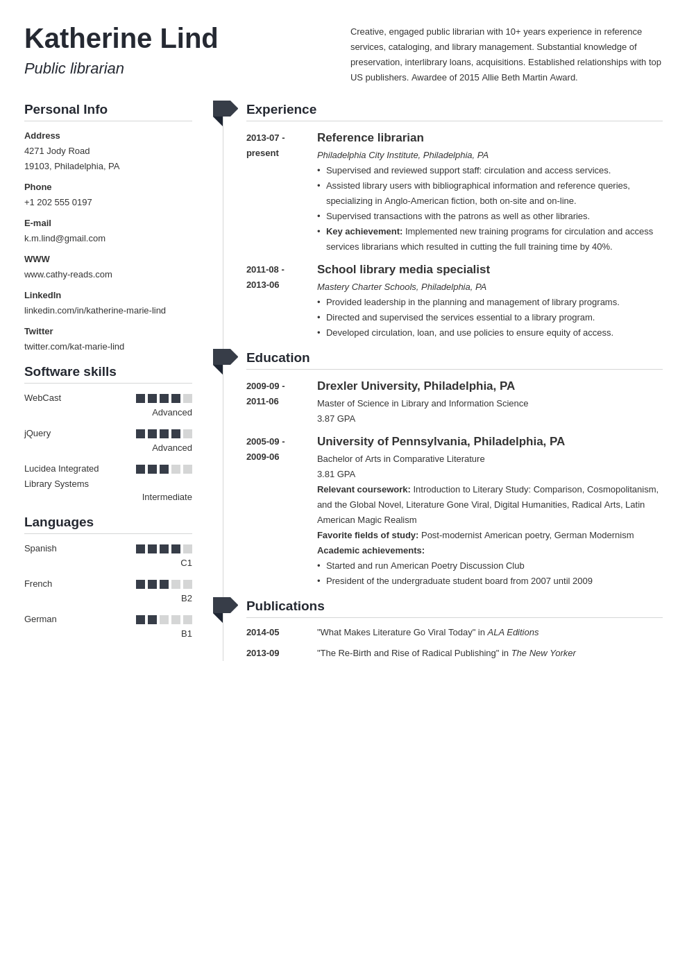 librarian resume example template muse