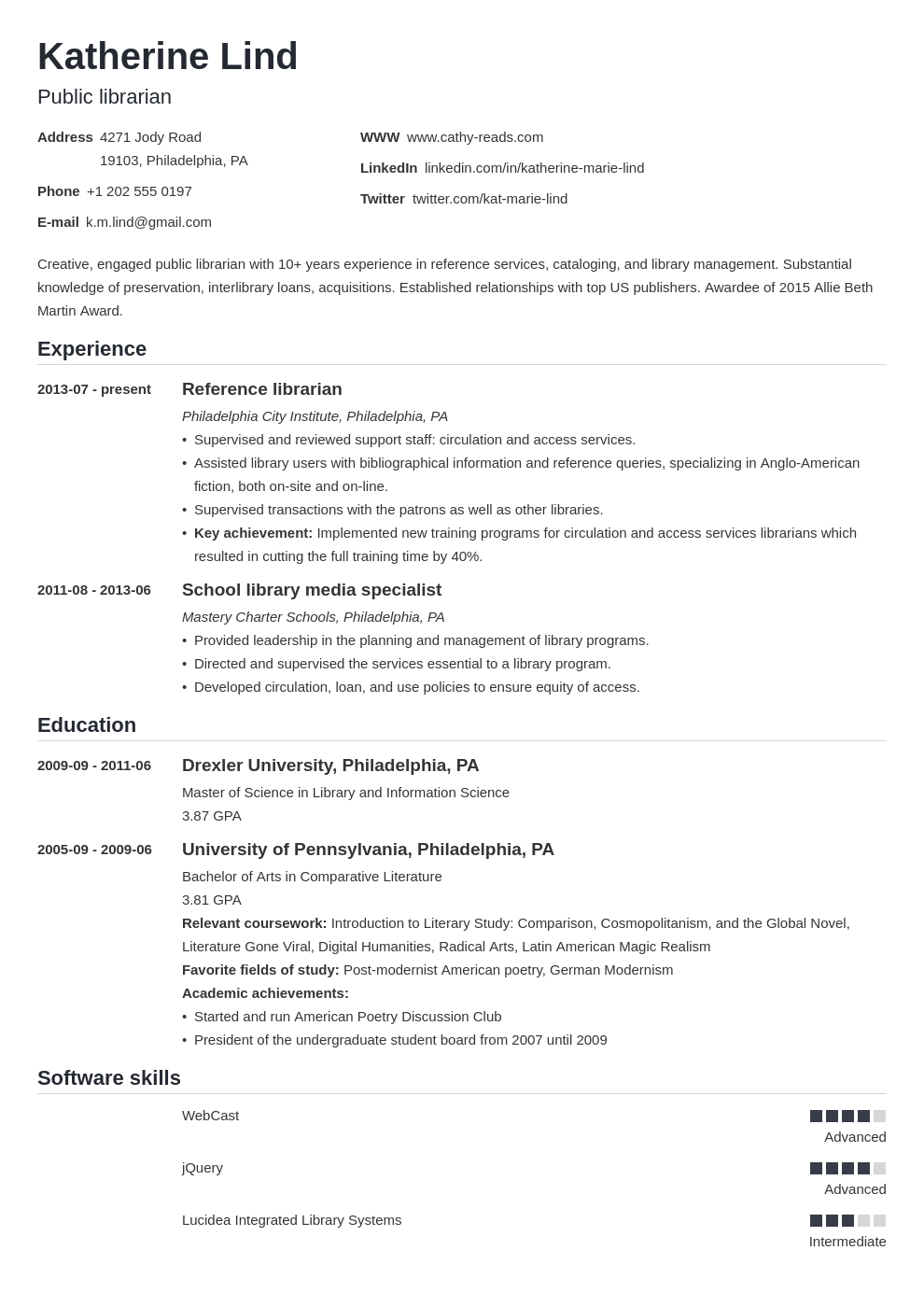 librarian resume example template nanica