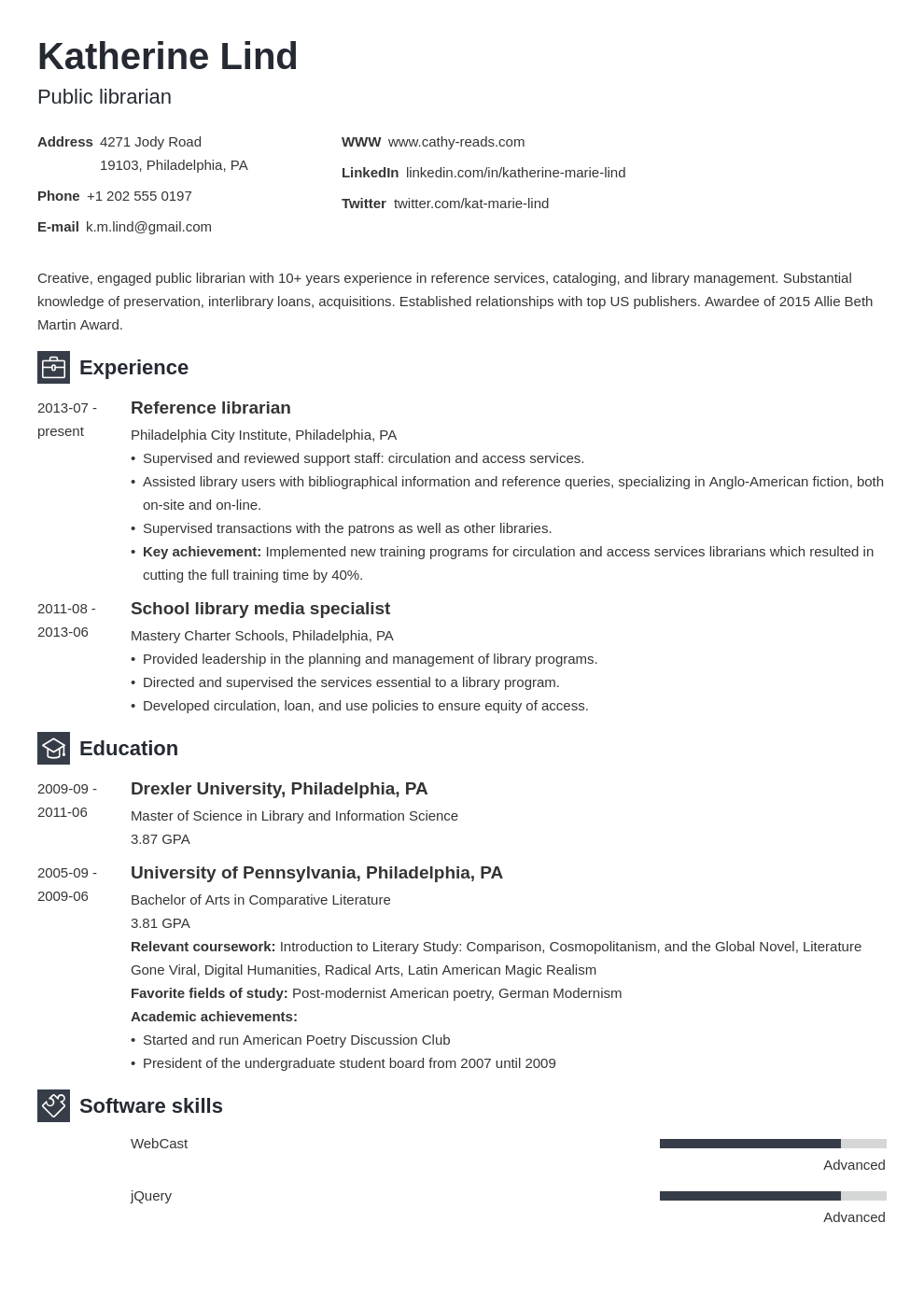 librarian resume example template newcast