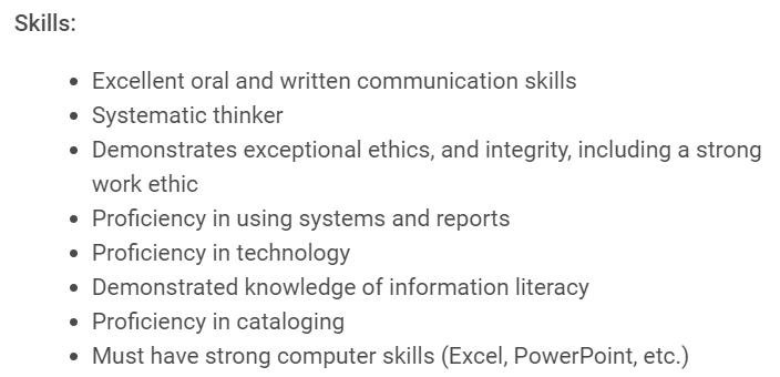 examples of librarian skills to put on a resume