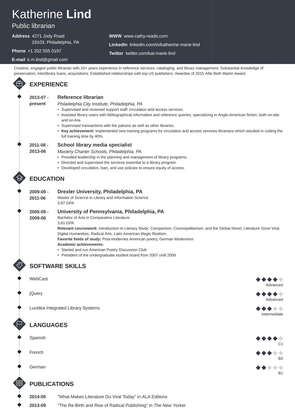 Librarian Resume Sample Complete Guide 20 Examples