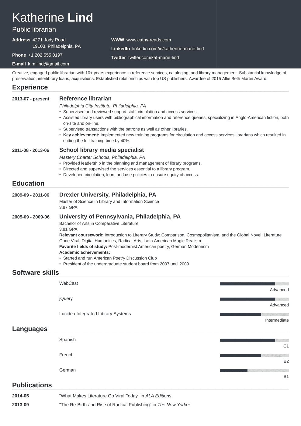 Librarian Resume: Sample & Complete Guide [20+ Examples]