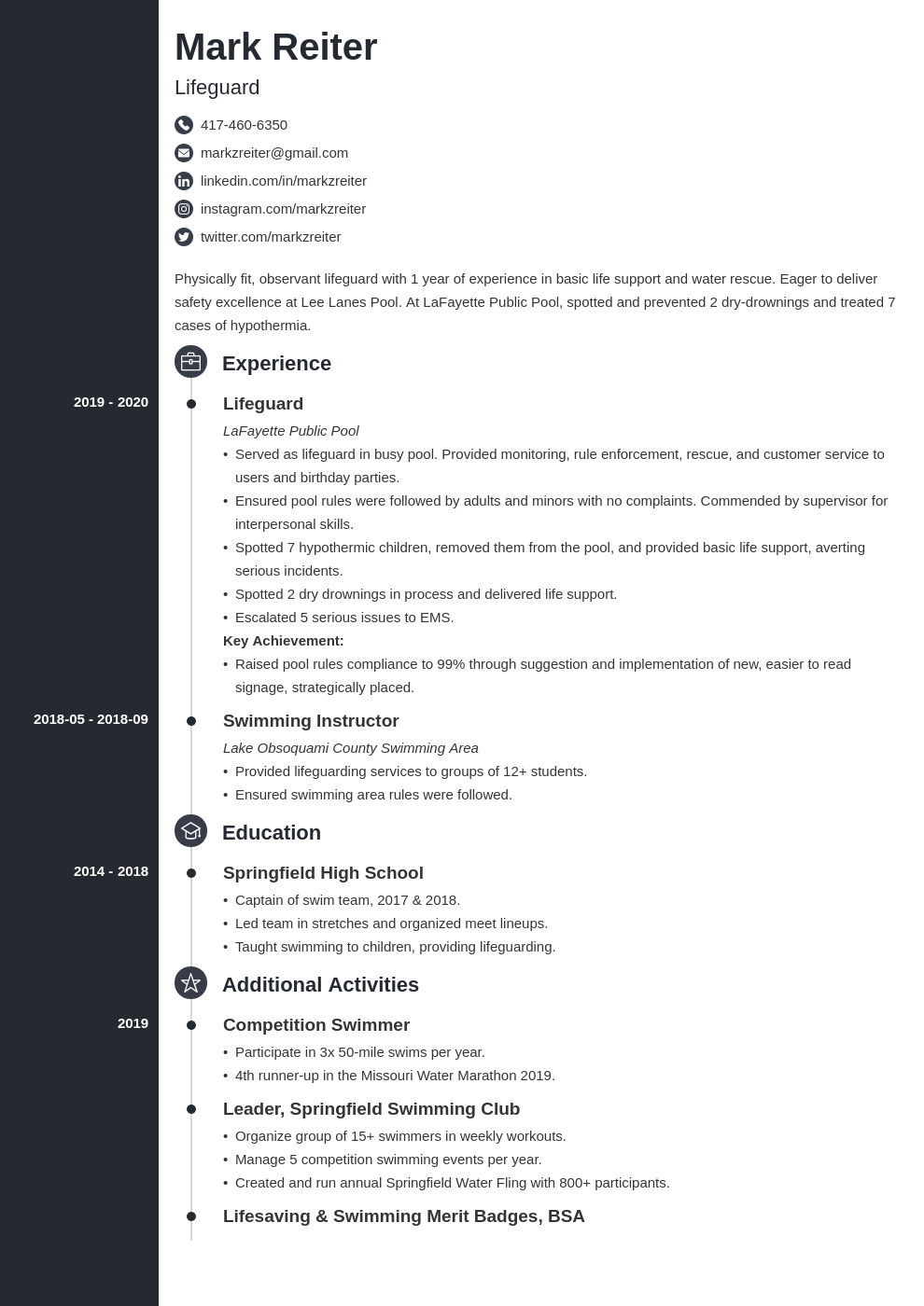 lifeguard resume example template concept