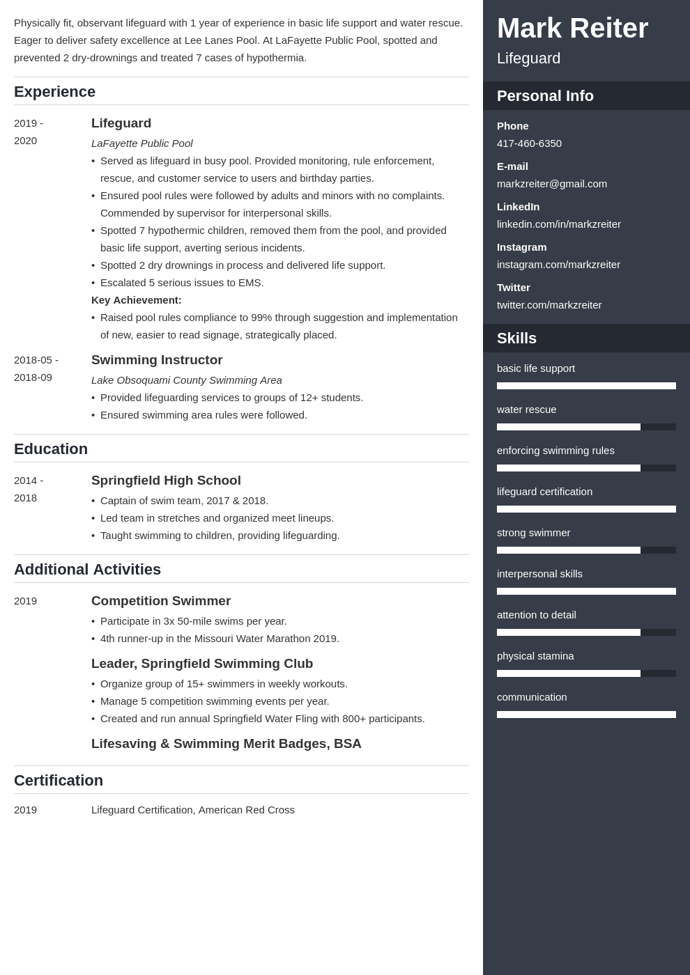 lifeguard resume example template enfold