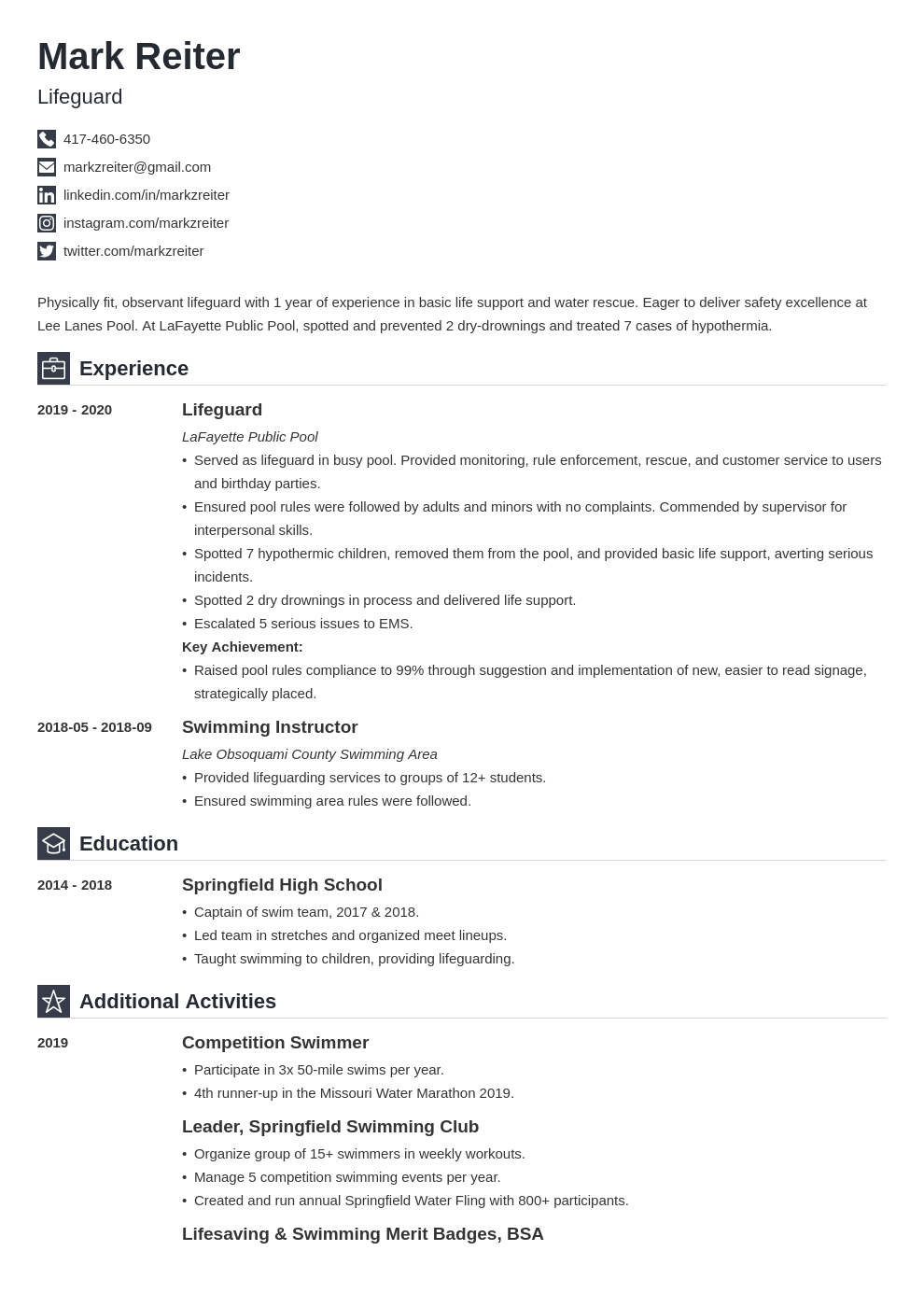 lifeguard resume example template iconic