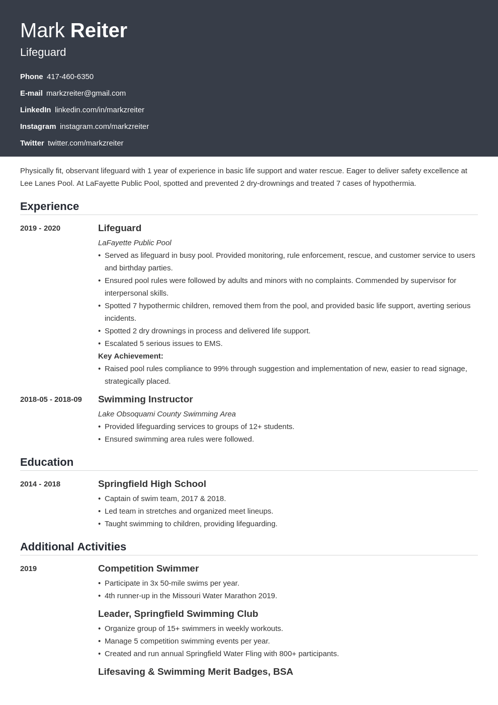 lifeguard resume example template influx