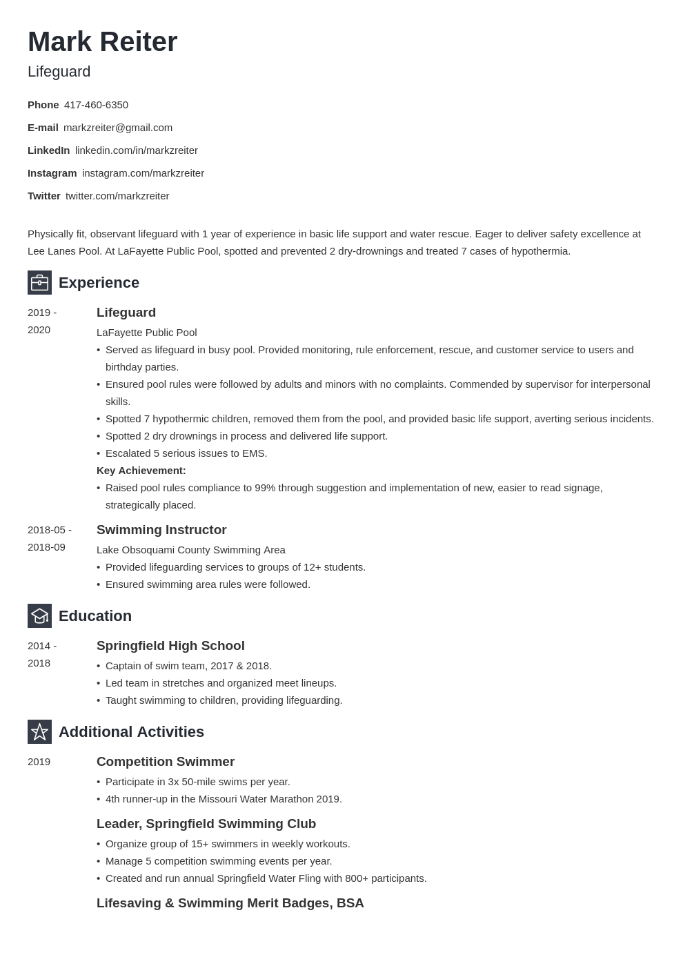 lifeguard resume example template newcast