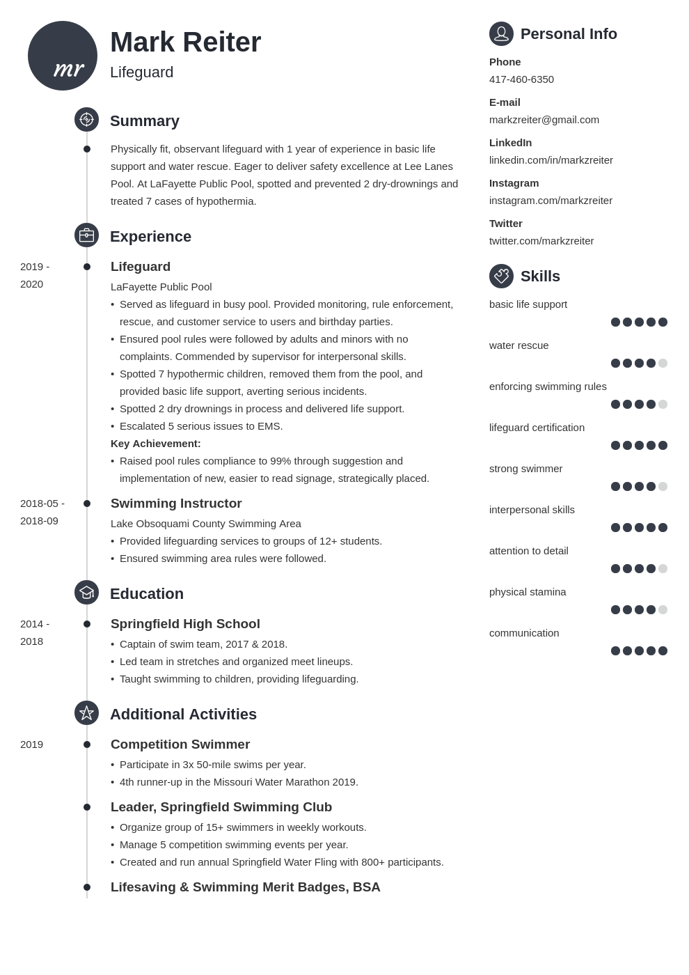 lifeguard resume example template primo