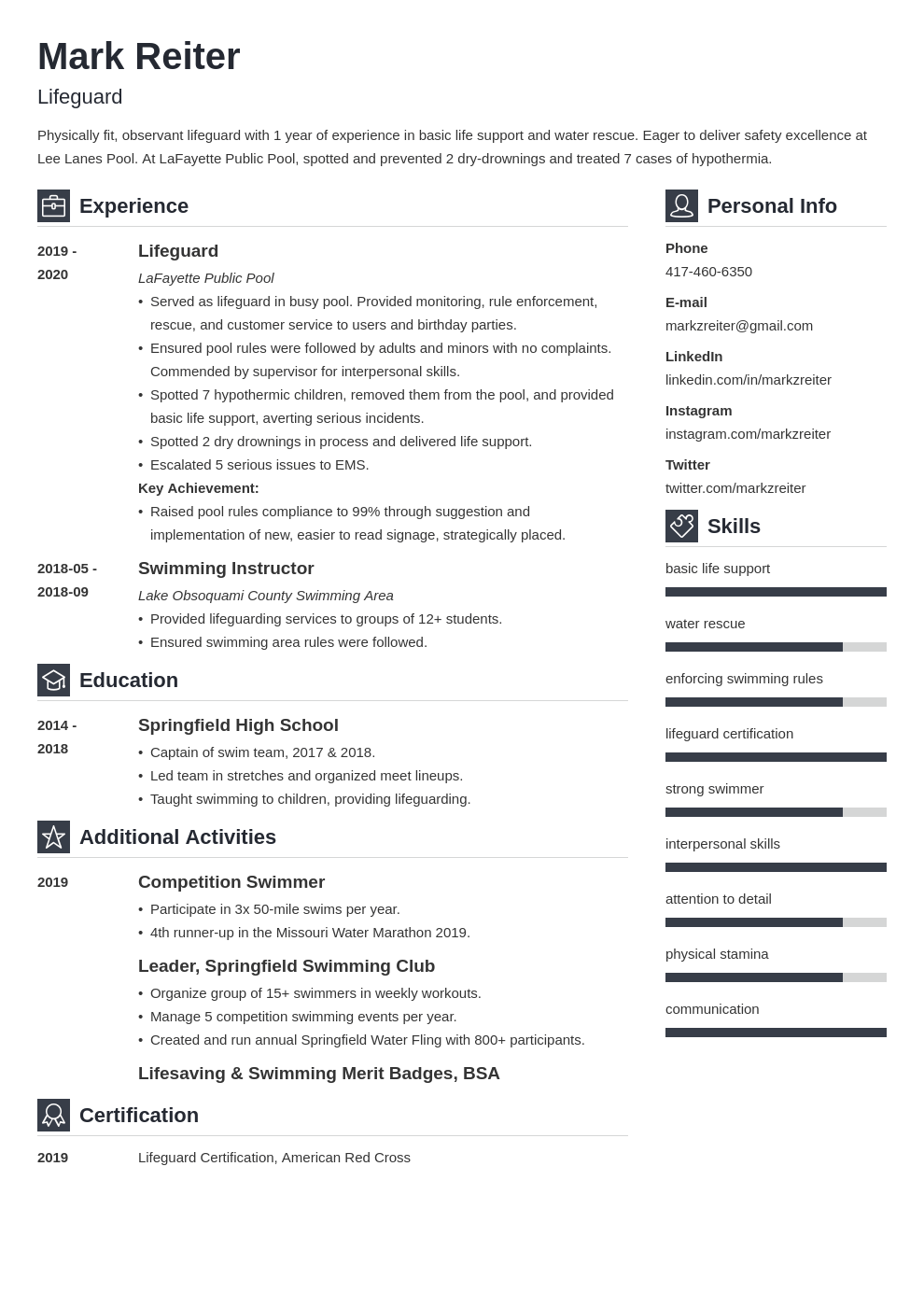 lifeguard resume example template vibes