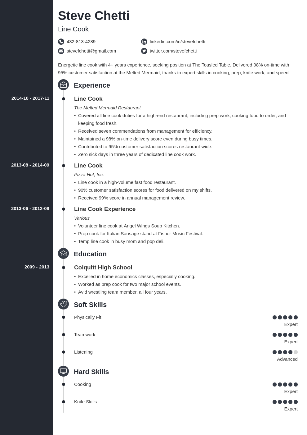 line cook resume example template concept