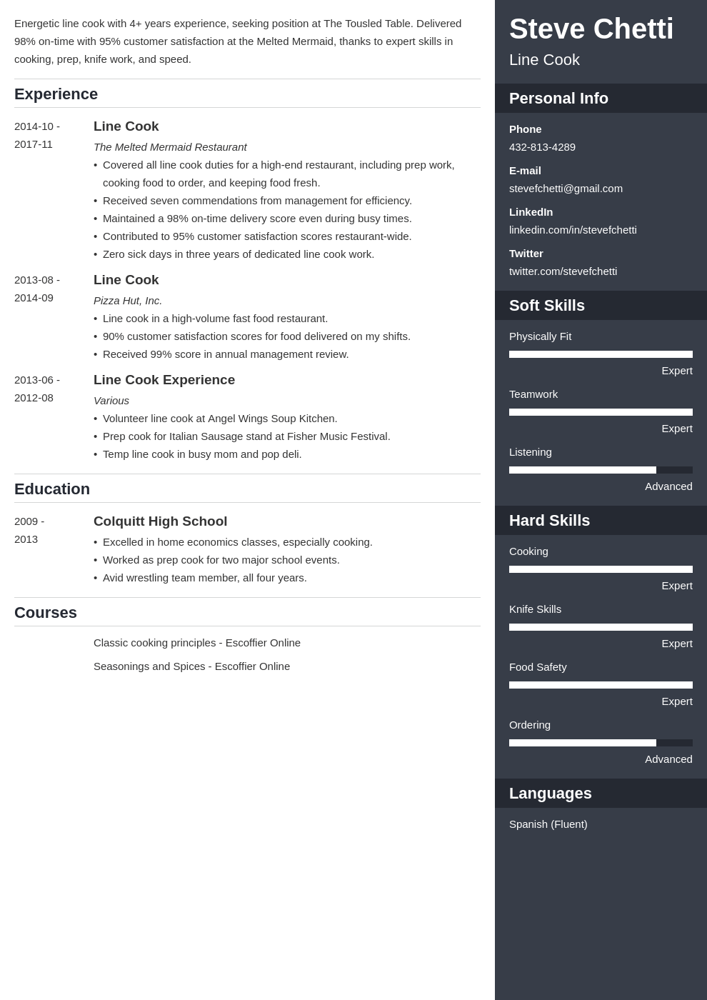 line cook resume example template enfold