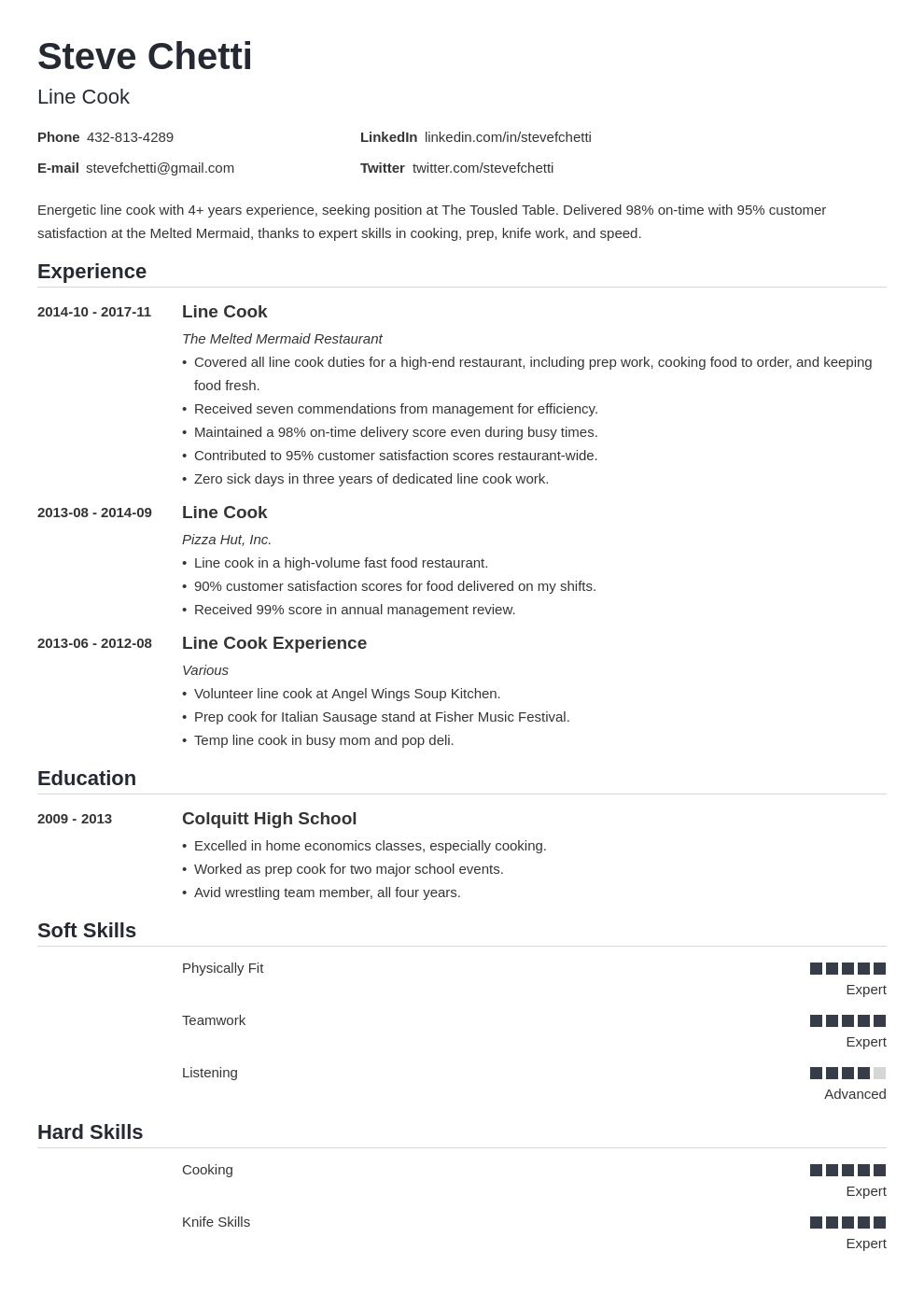 Line Cook Resume Sample Job Description And Skills