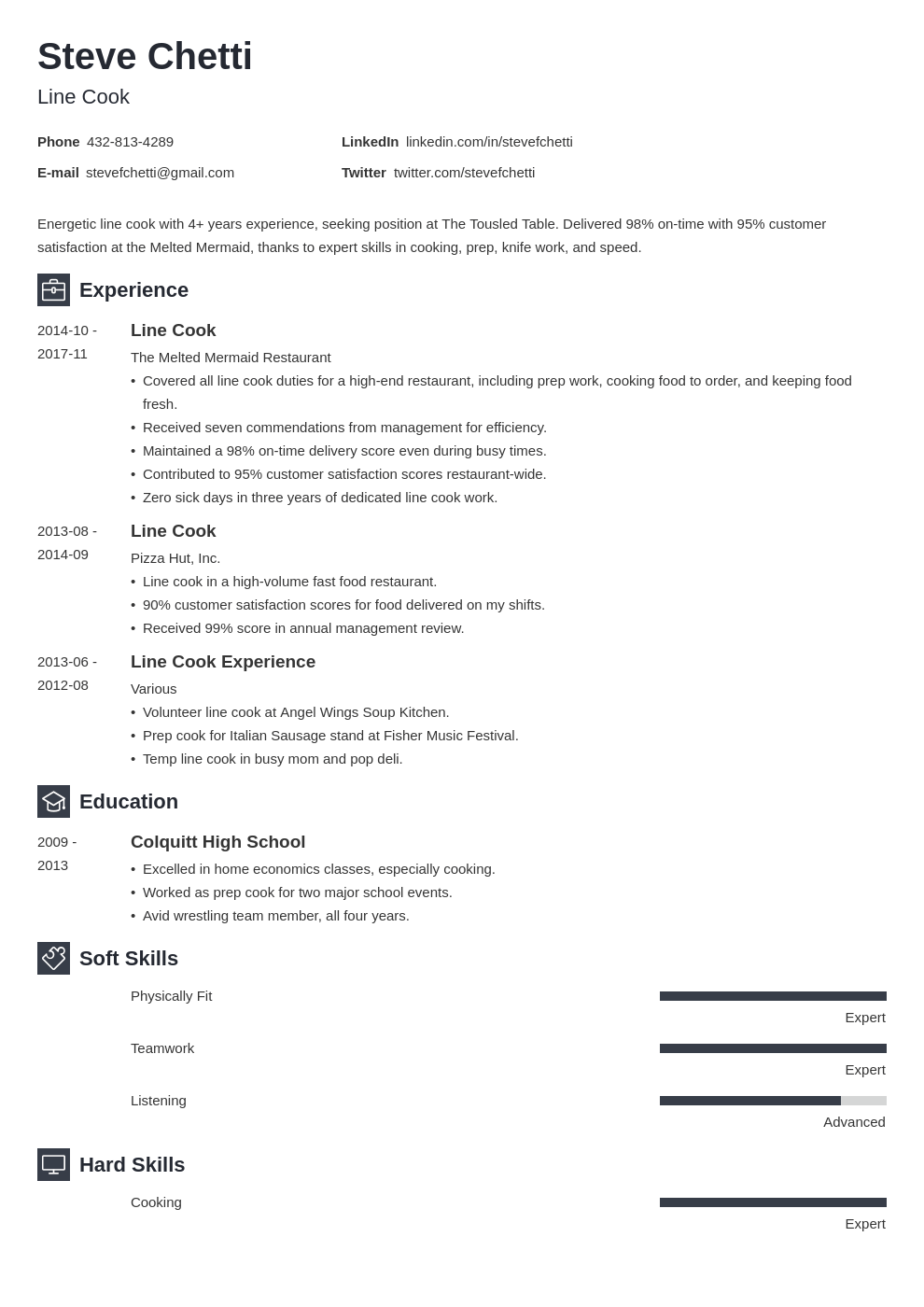 line cook resume example template newcast