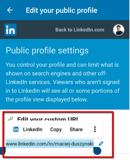 sharing new linkedin link