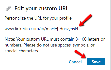 customize linkedin url