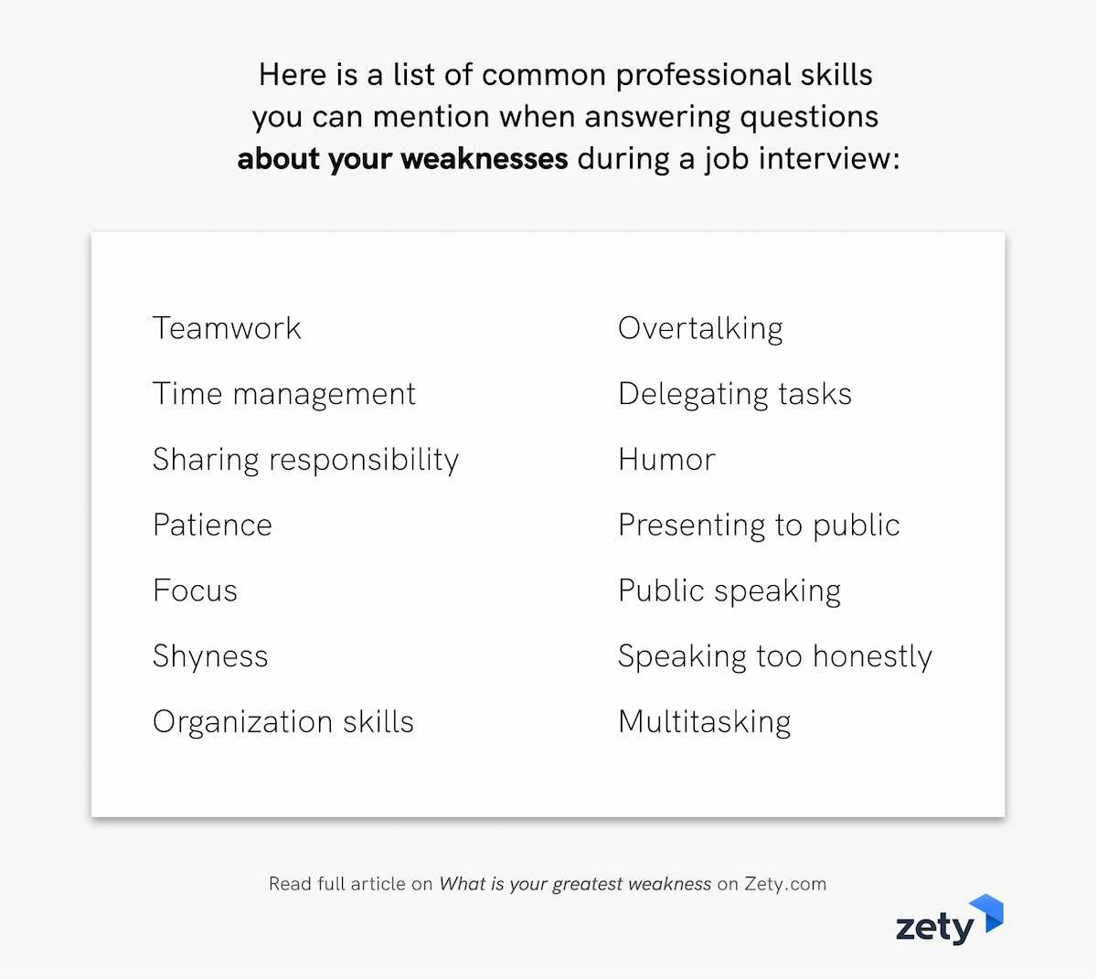 List of professional skills to mention when talking about your greatest weaknesses