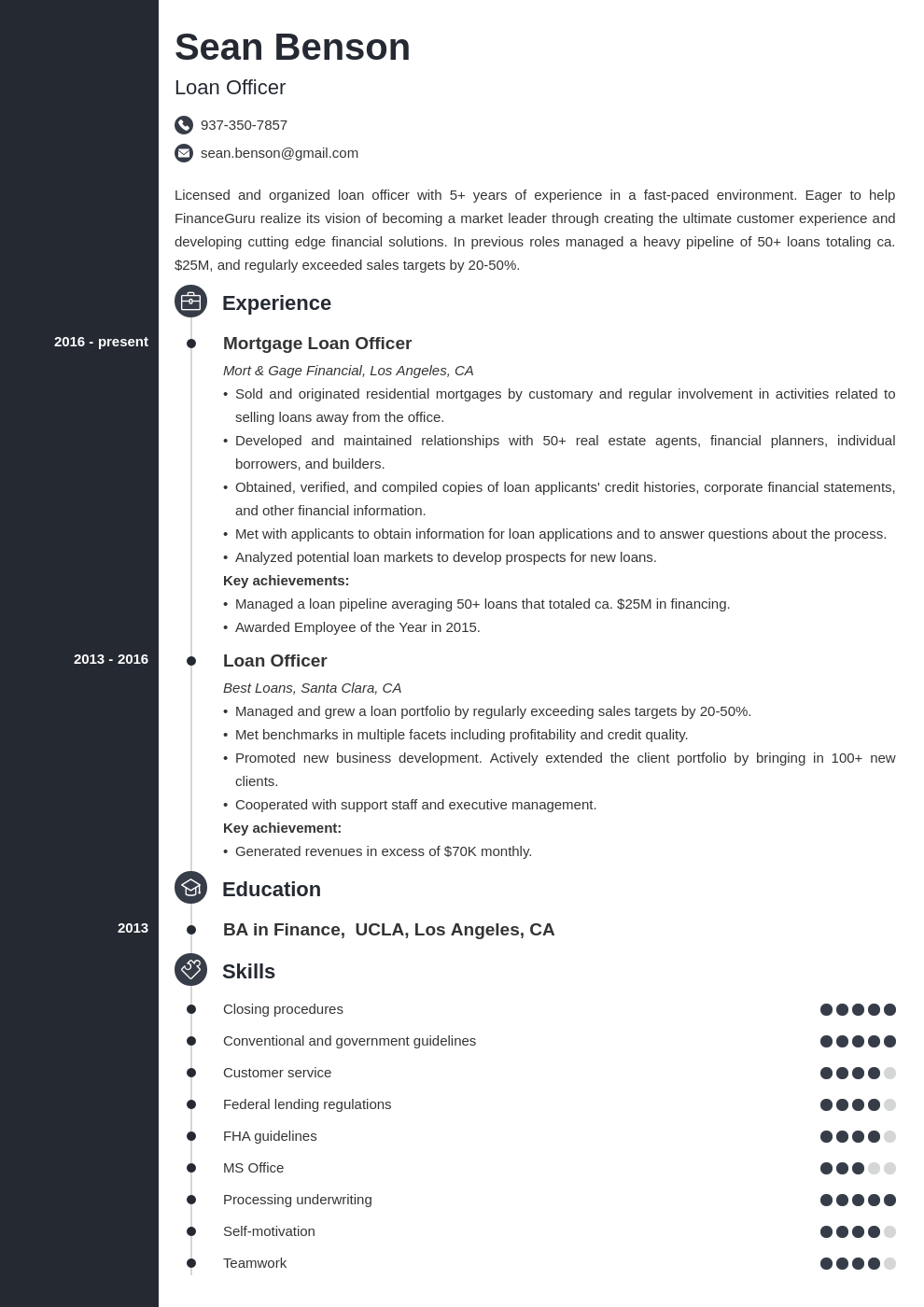 loan officer resume example template concept