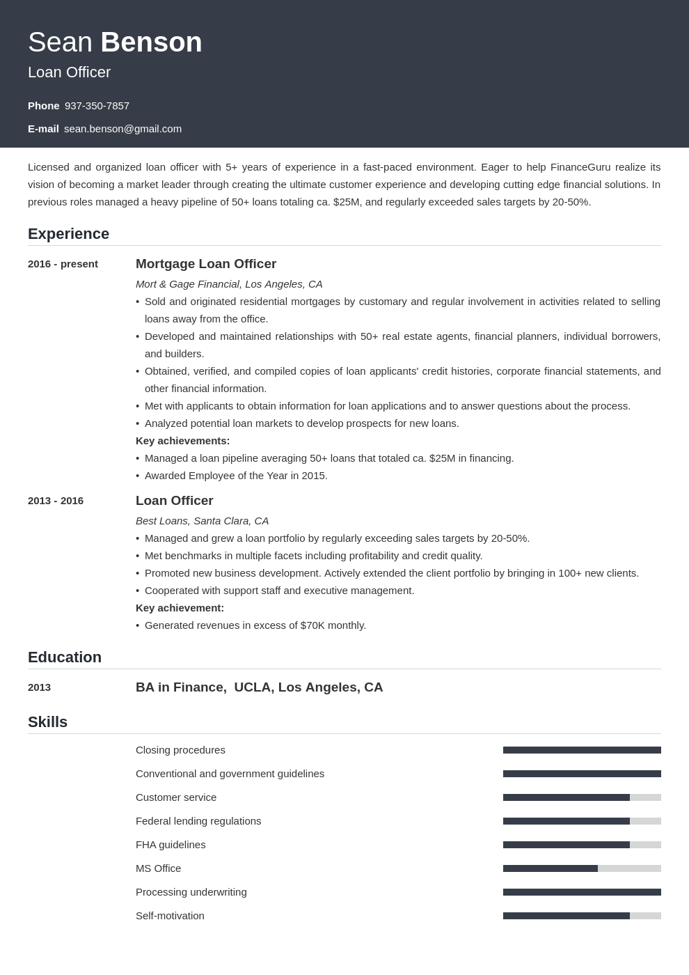 loan officer resume example template influx