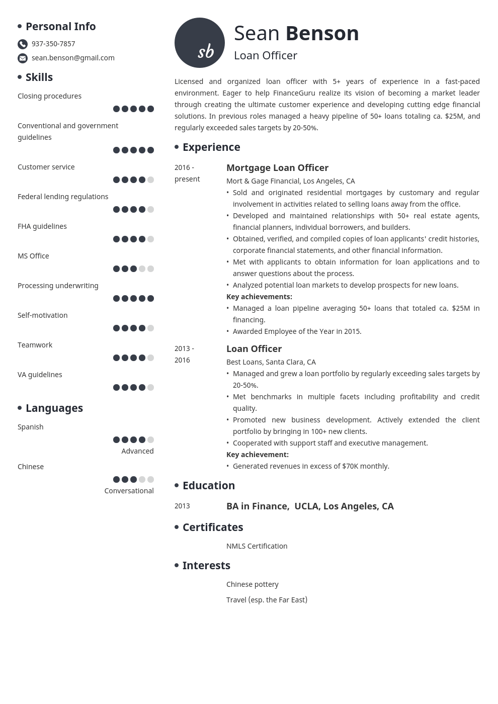 loan officer resume example template initials