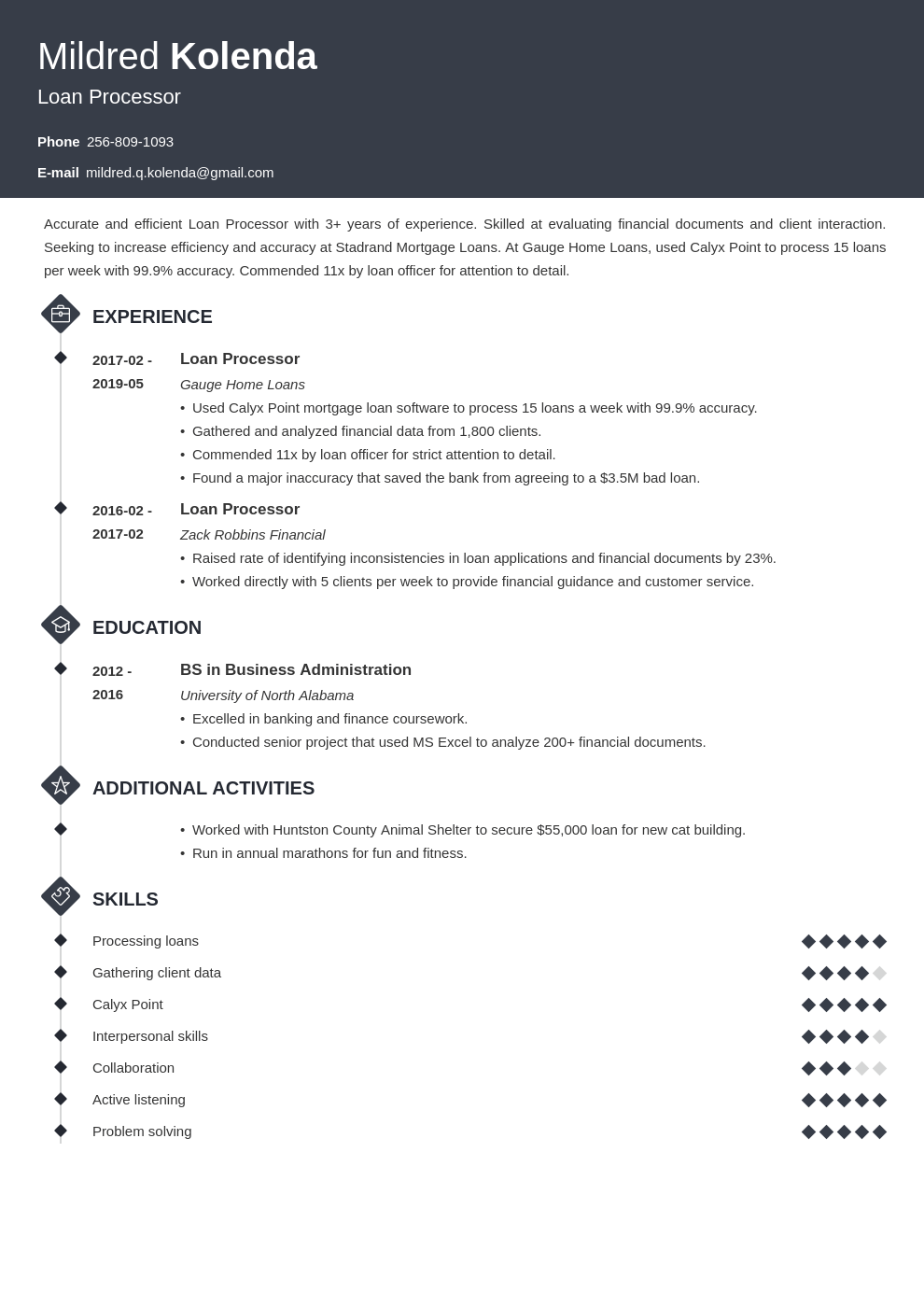 loan processor resume example template diamond