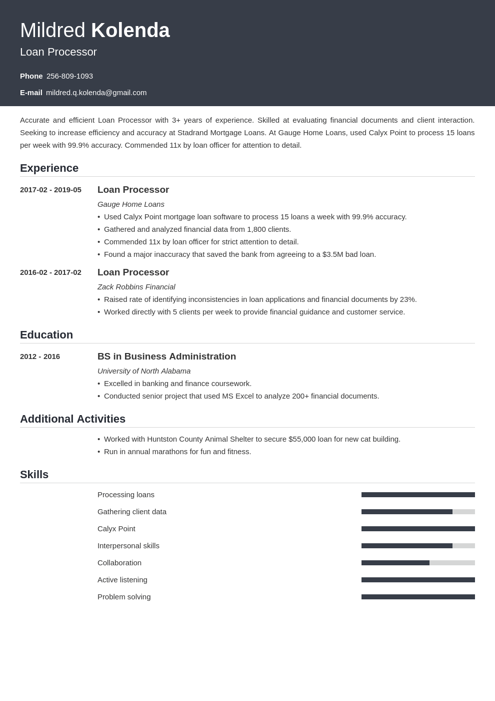 loan processor resume example template influx