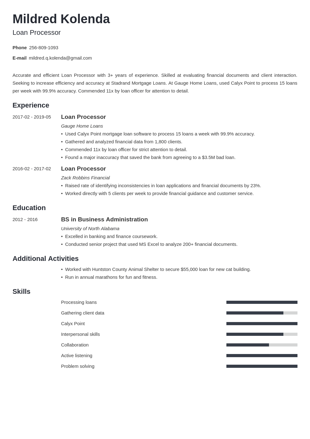 loan processor resume example template minimo