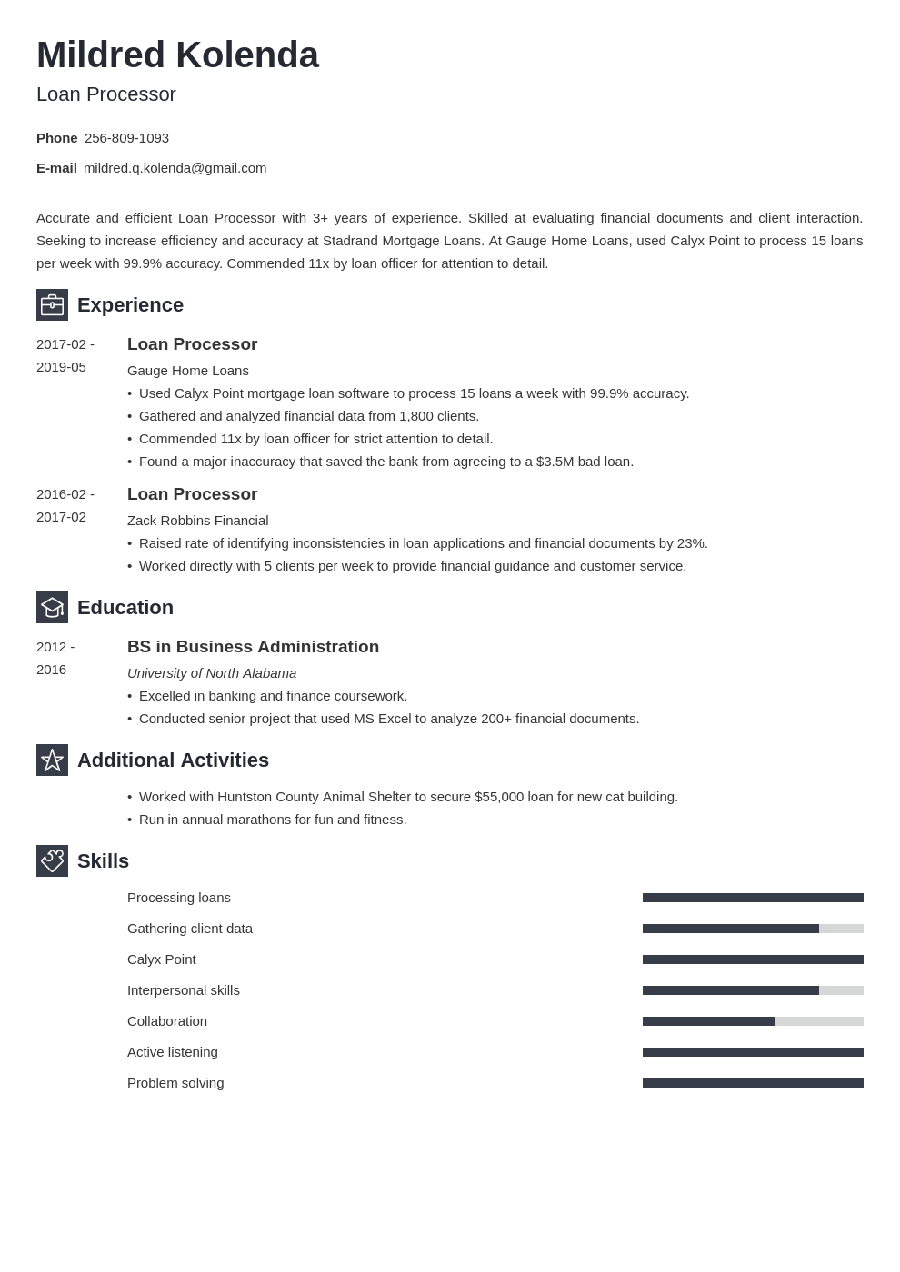 loan processor resume example template newcast