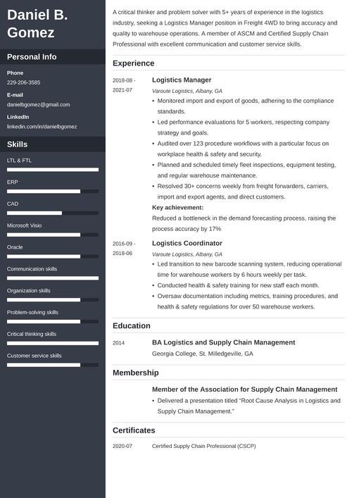 logistics manager resume example