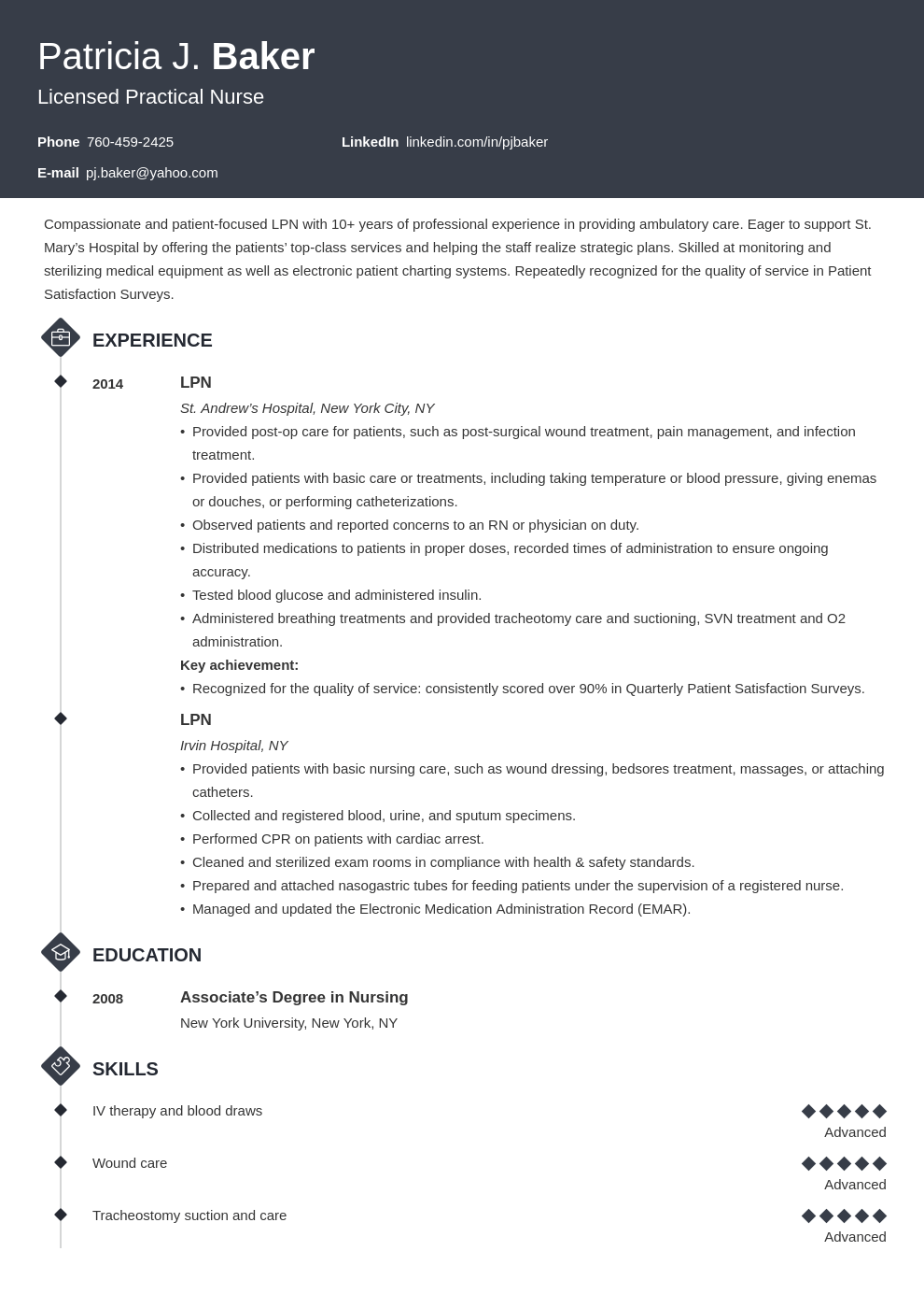 lpn resume example template diamond