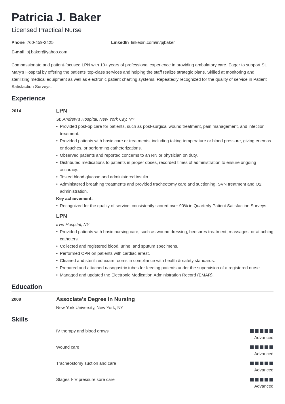 lpn resume example template nanica