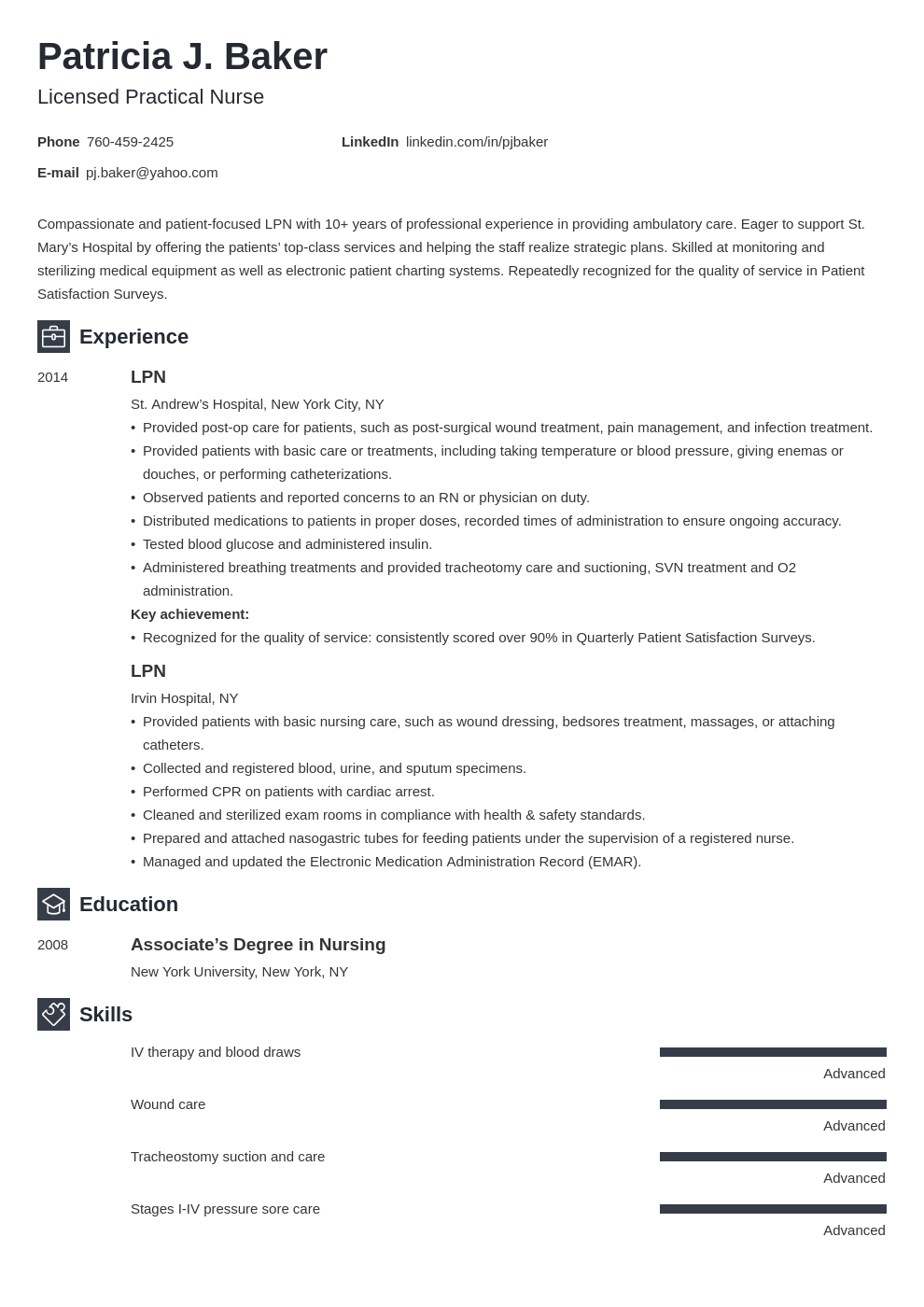 lpn resume example template newcast