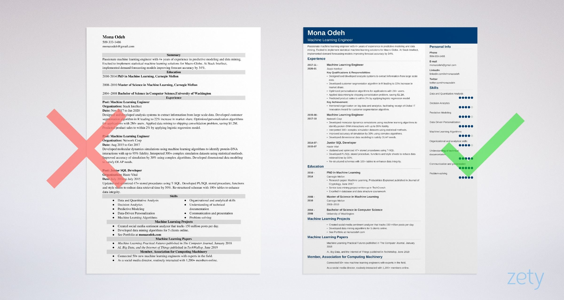 machine learning resume templates