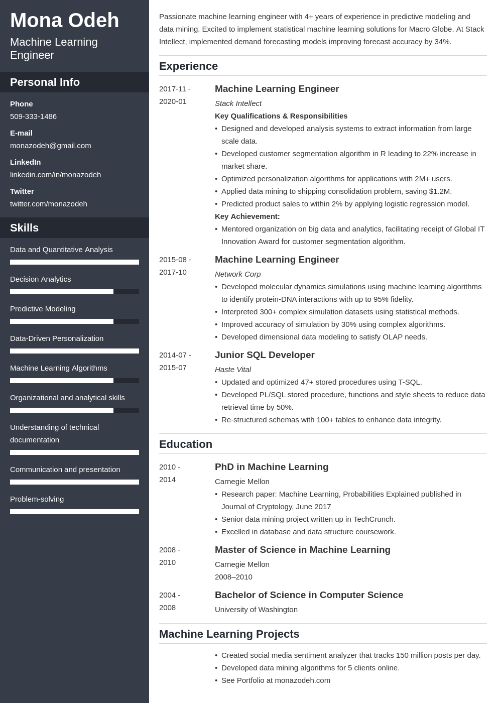 machine learning resume example template cascade