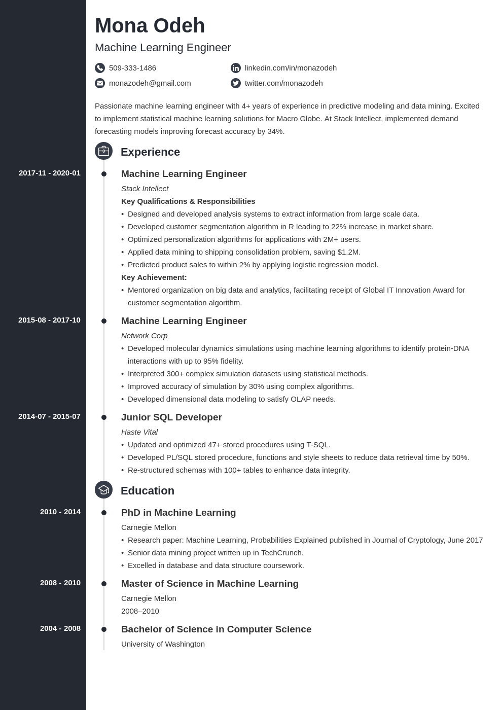machine learning resume example template concept