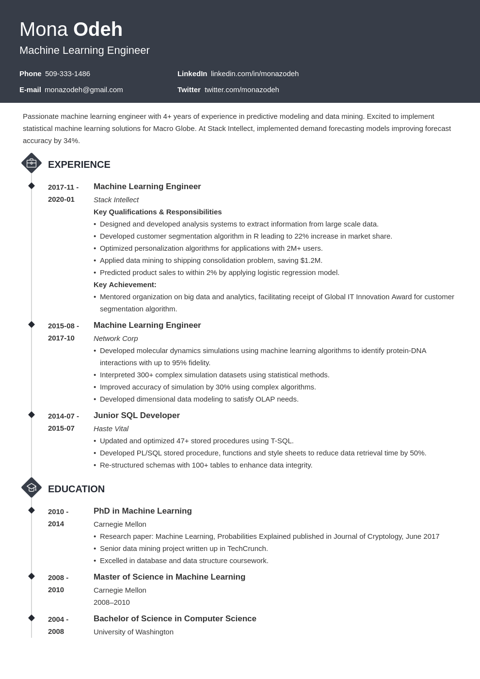 machine learning resume example template diamond