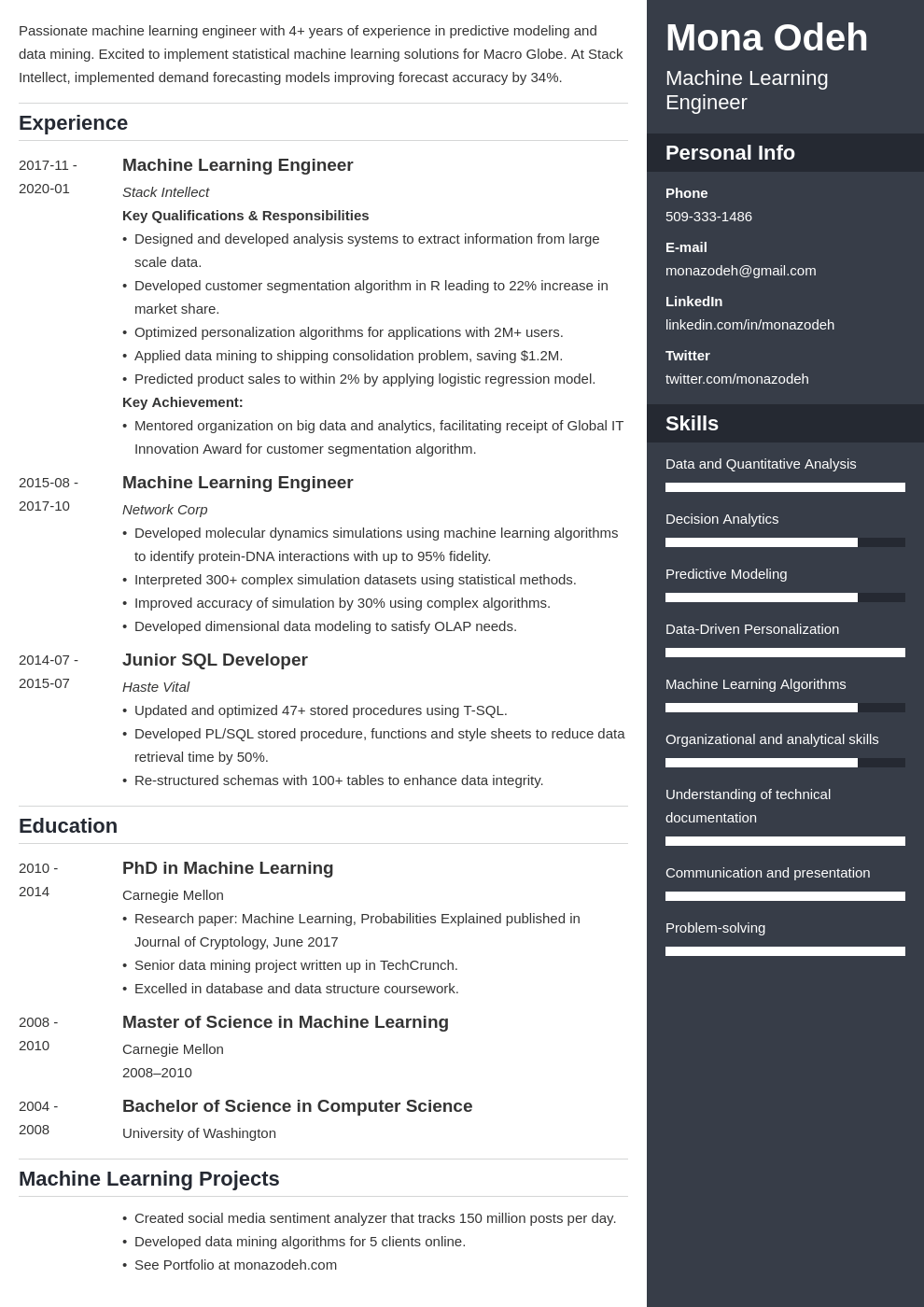 machine learning resume example template enfold