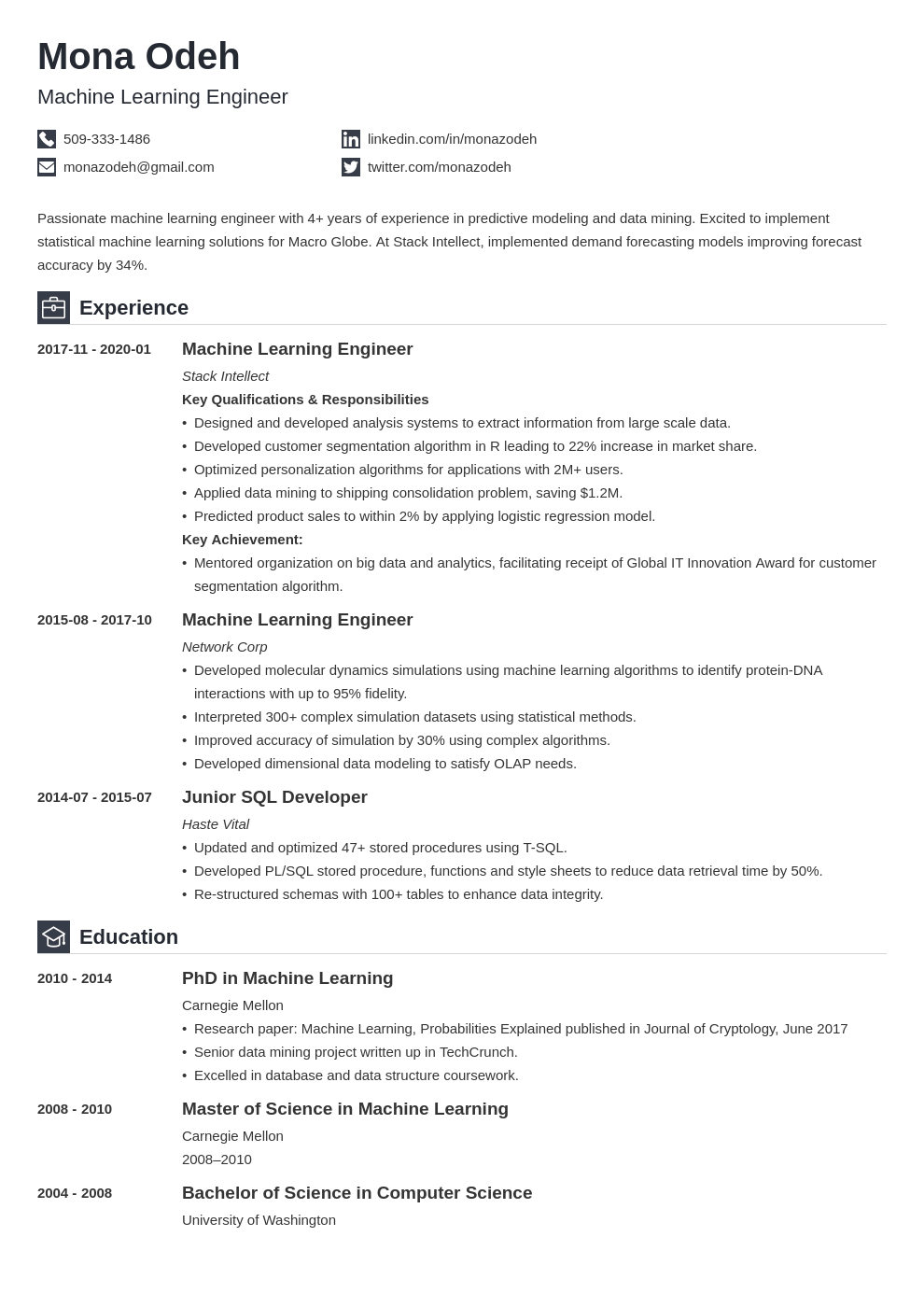 machine learning resume example template iconic