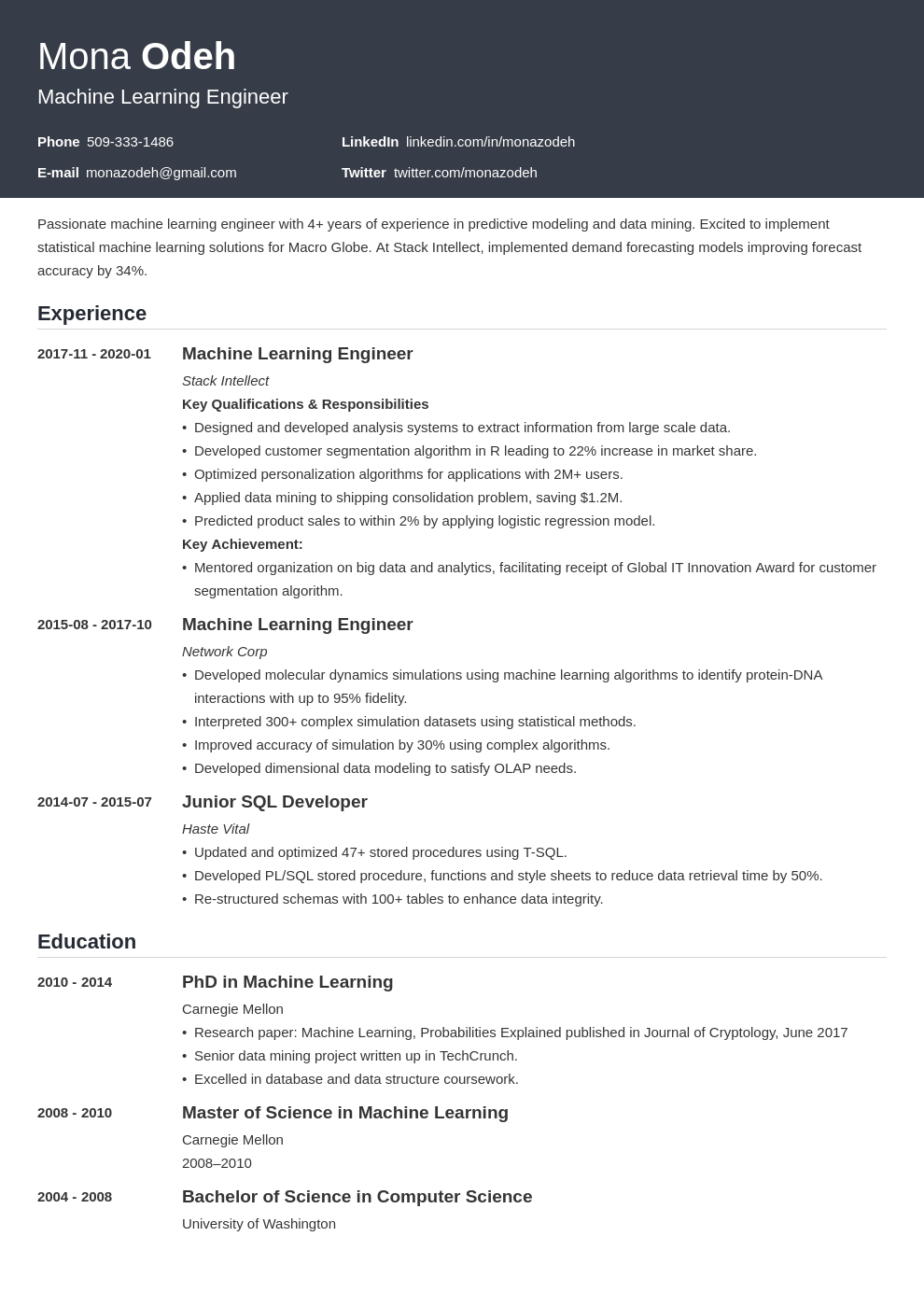 machine learning resume example template influx