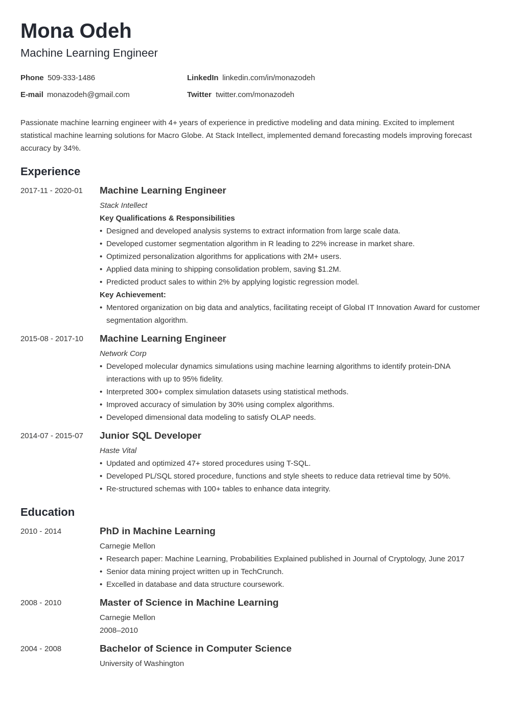 machine learning resume example template minimo