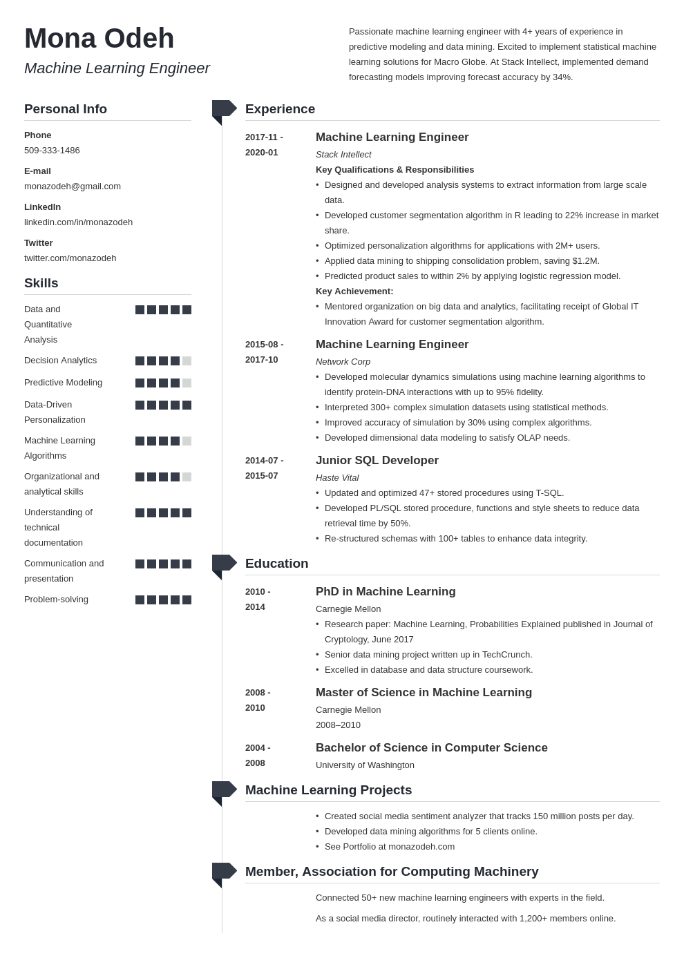 machine learning resume example template muse