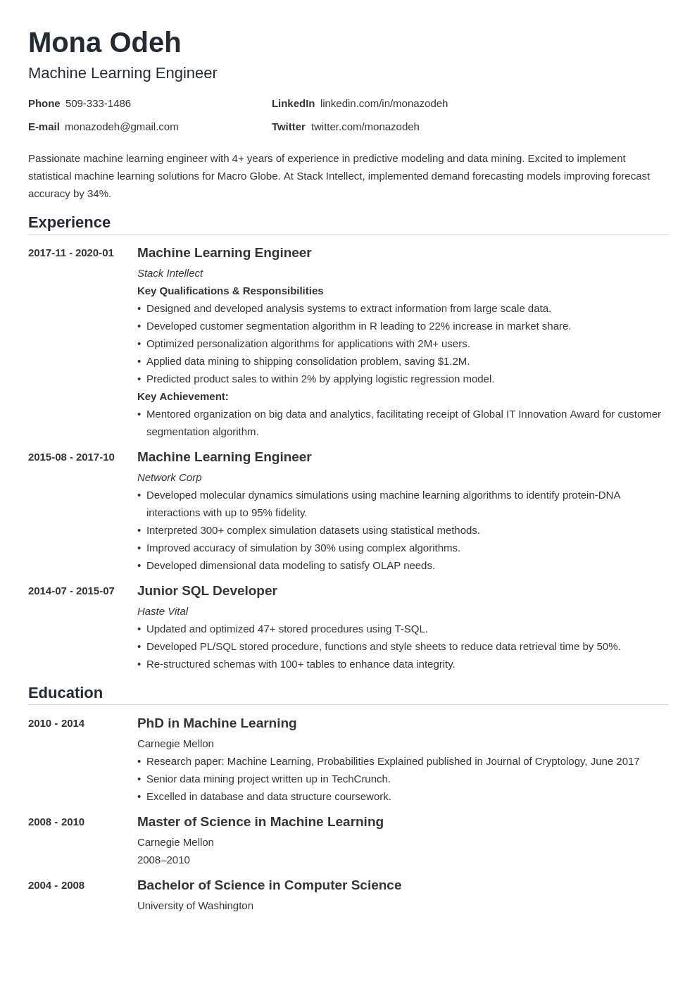 machine learning resume example template nanica