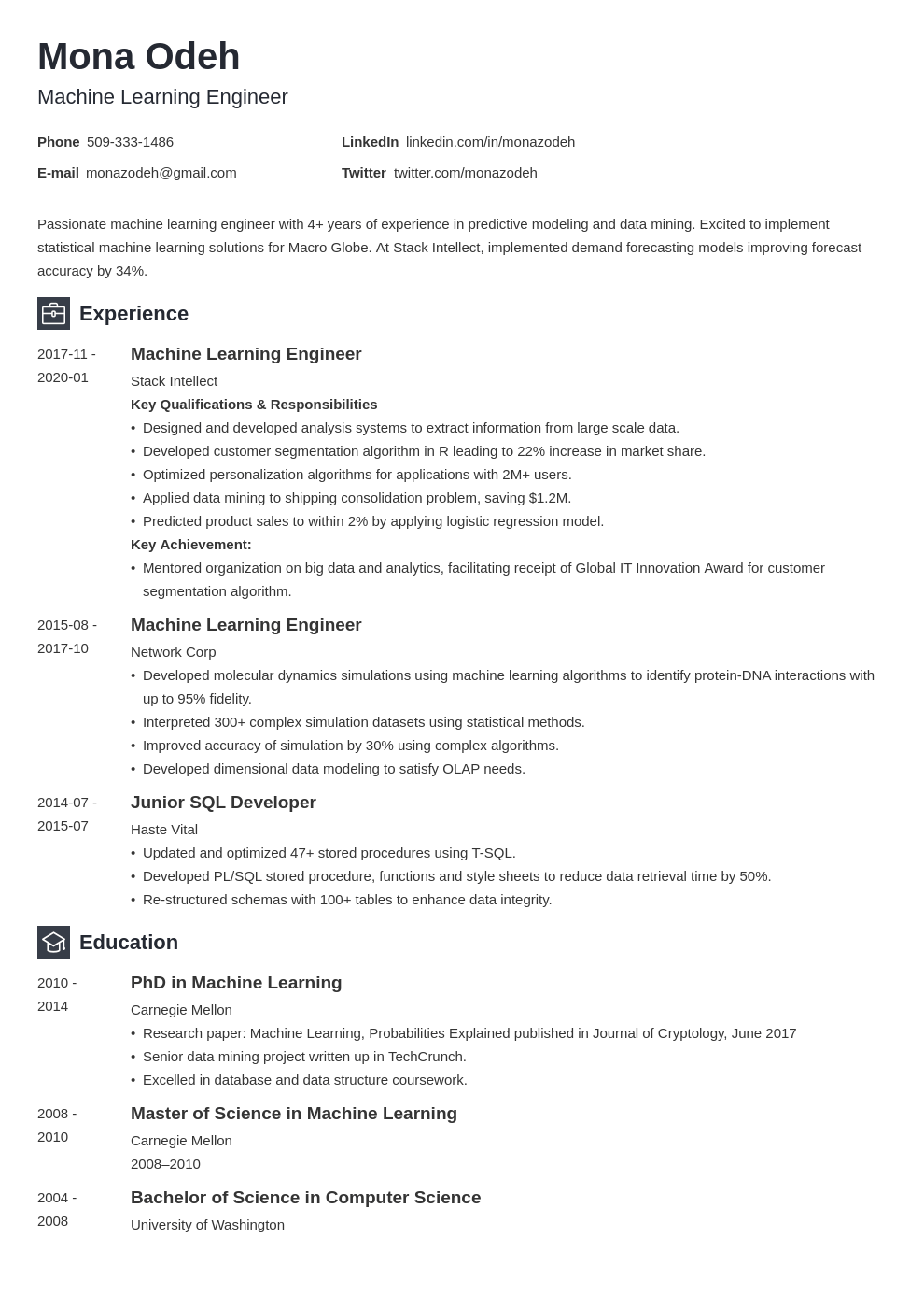 machine learning resume example template newcast
