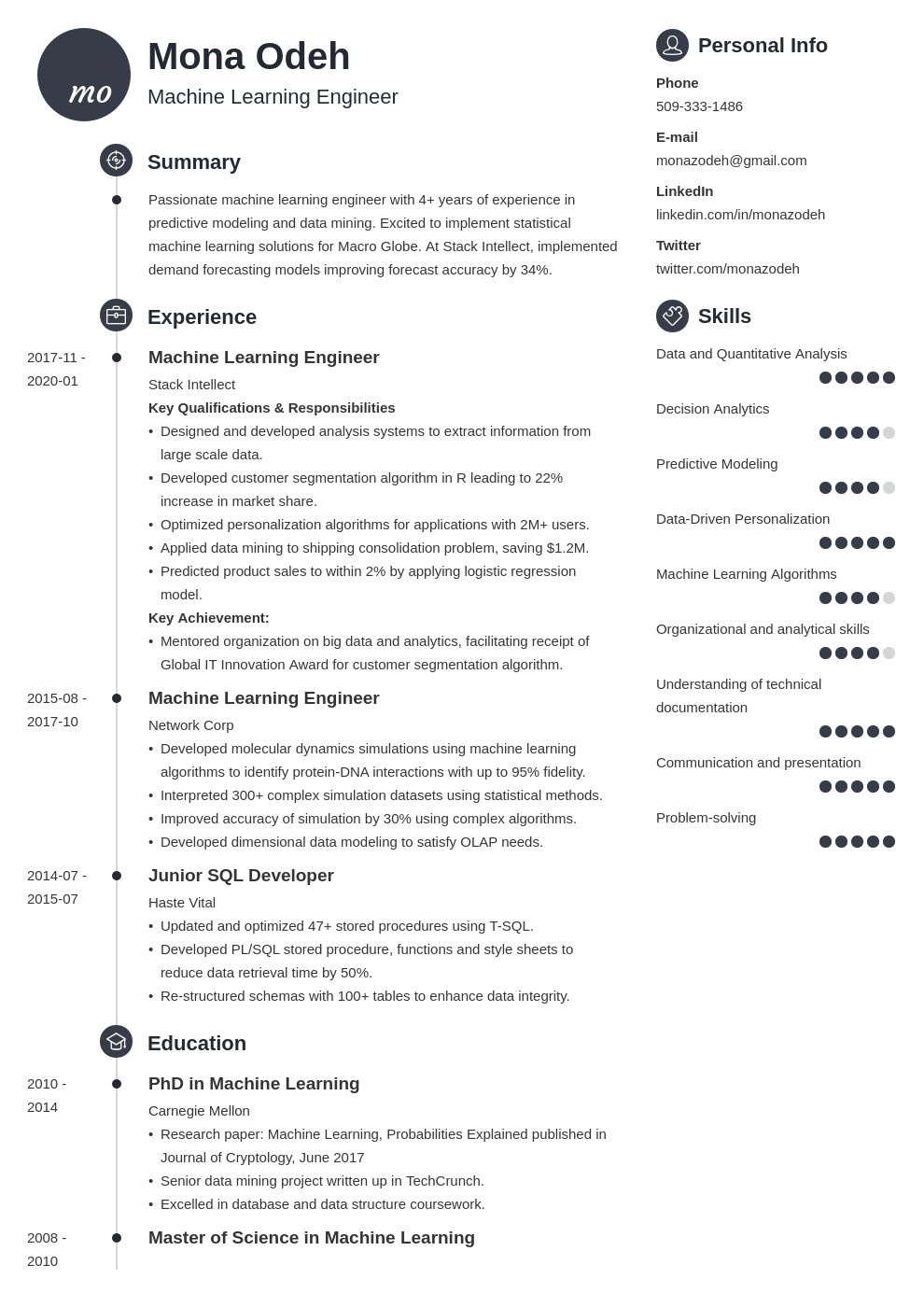 machine learning resume example template primo
