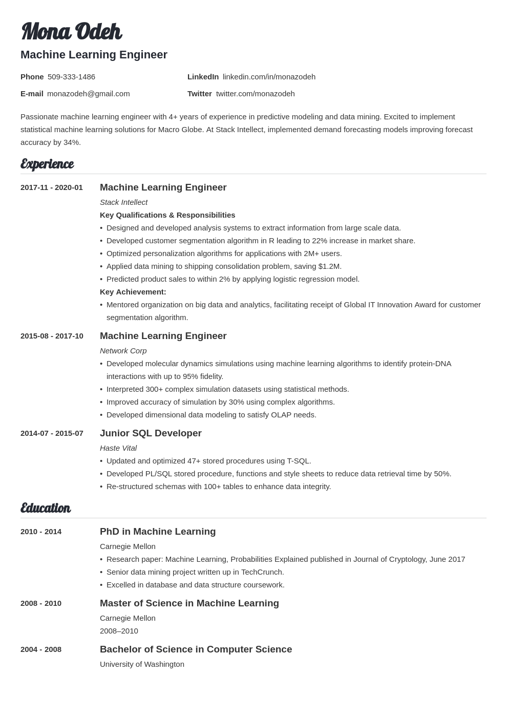 machine learning resume example template valera