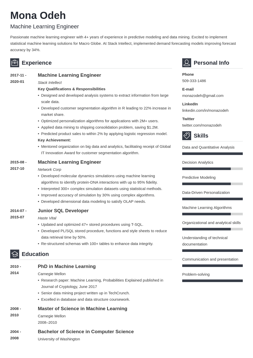 machine learning resume example template vibes
