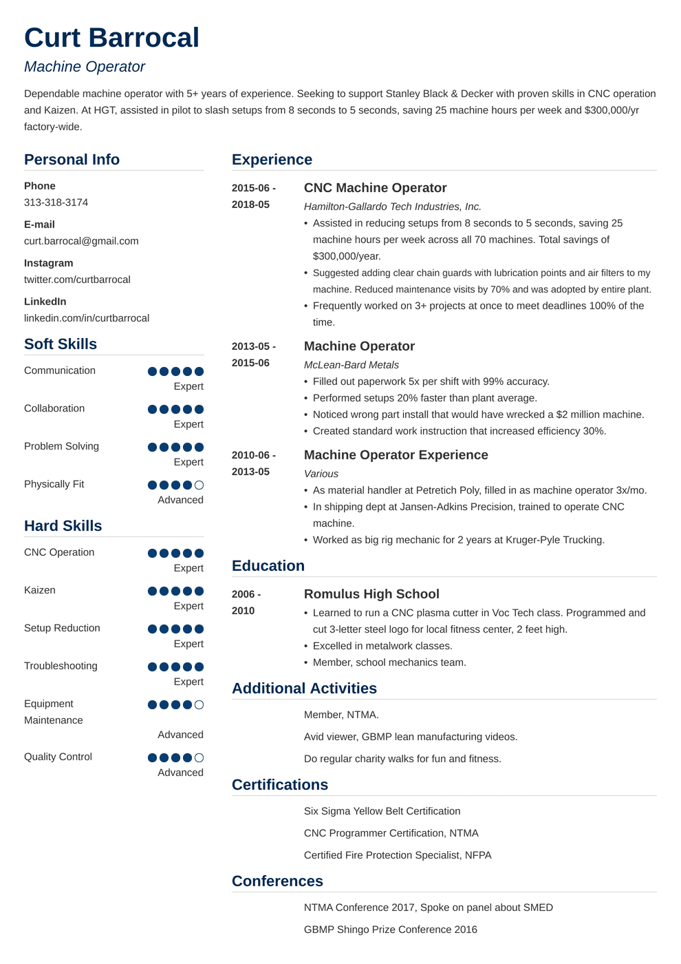 machine operator resume samples and writing guide 20 examples