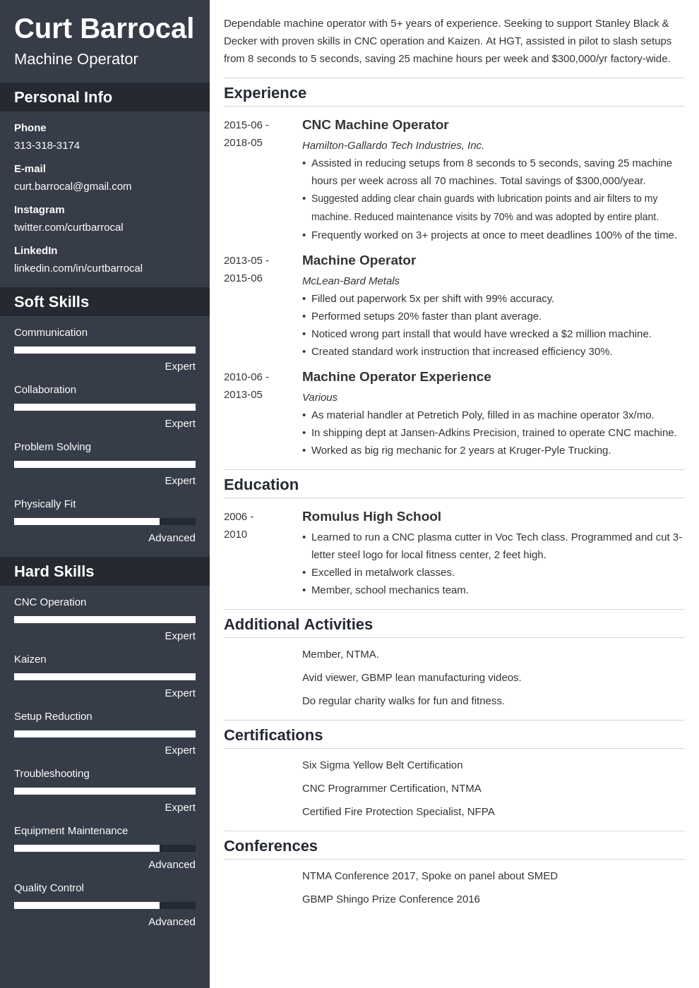 machine operator resume example template cascade