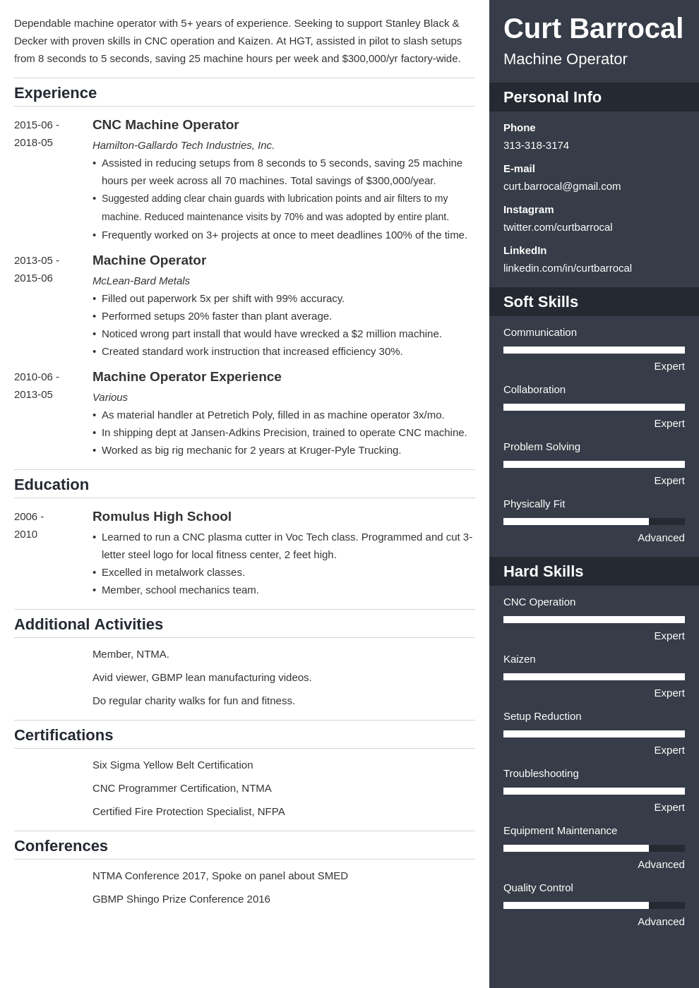 machine operator resume example template enfold